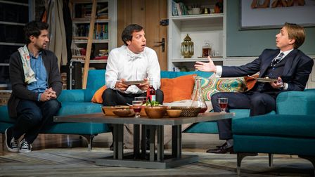 Bo Poraj, Alex Gaumond, Louise Marwood and Joe Thomas in What's In A Name. Picture: Piers Foley