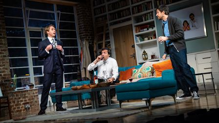 Joe Thomas, Alex Gaumond and Bo Poraj in What's In A Name. Picture: Piers Foley