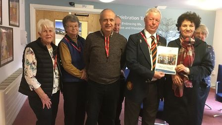 Yatton Bowling Club President, Trevor Storm, being presented with certificate.