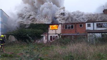 Firefighters worked to put out the blaze yesterday (Wednesday). Picture: Burnham-on-Sea Fire Sta