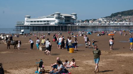 Weston beach was busy with crowds of people on the weekend. Picture: Mark Atherton