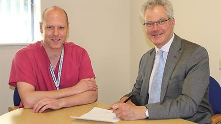 Surgeon commander Richard Bateman and chief executive Robert Woolley. Picture UHBW