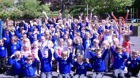 Pupils at Rodney Stoke and Draycott First School celebrate their Ofsted report