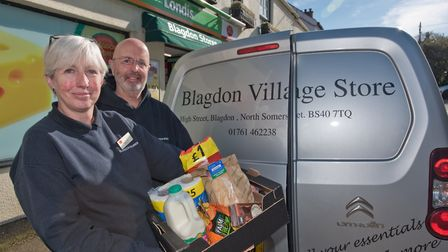 Blagdon Stores owners Johanna and Graham Brown offering order service over phone and delivery to hel