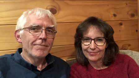 Ian and Marian Presland isolated in their holiday cottage.