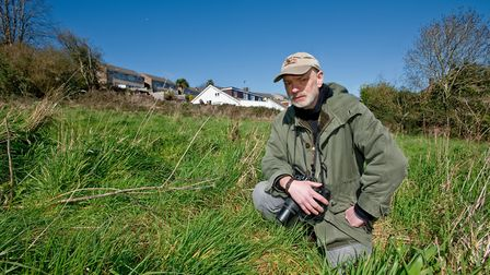 Jonathan Mock from Wild Portishead at Slade Road field which is under threat of development, Pic