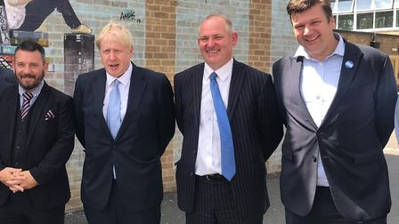 Boris Johnson with James Heappey MP, Neville Coles, staff and pupils at King Alfred School.Picture:
