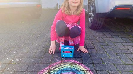 Pupils who are at home have been drawing rainbows