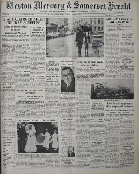 Front Page 03rd April 1970 Edition. Picture: WESTON MERCURY