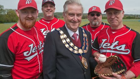 Weston Mayor Cllr Mike Lyall making the first pitch at Weston Jets baseball team's opening game. Cha