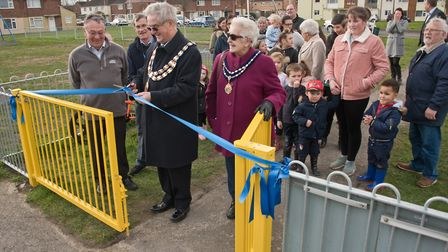 Weston Mayor Cllr Mike Lyall and Mayoress Margaret Lyall opening the new Canberra Road play area.