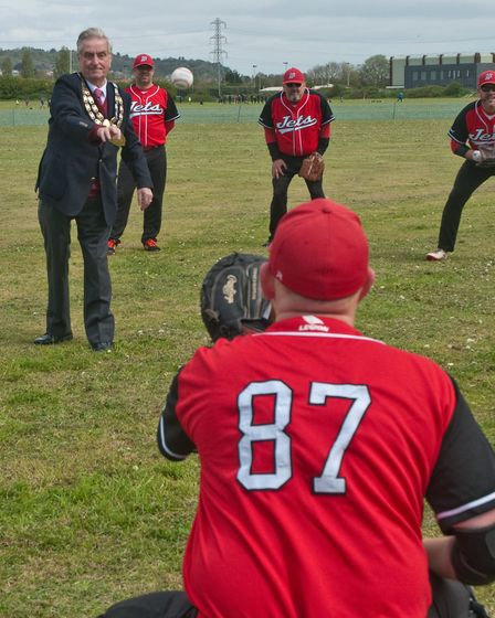 Weston Mayor Cllr Mike Lyall making the first pitch at Weston Jets baseball team's opening game.