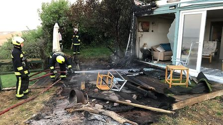 Crews tackeled an early fire at a beach hut. Picture:Burnham fire station