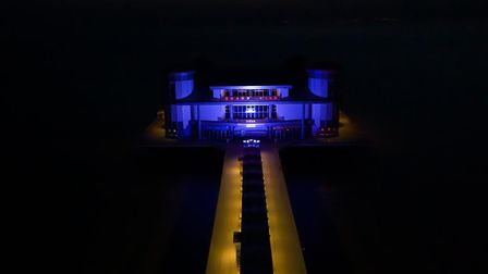 The Grand Pier shines Blue in support of the NHS.