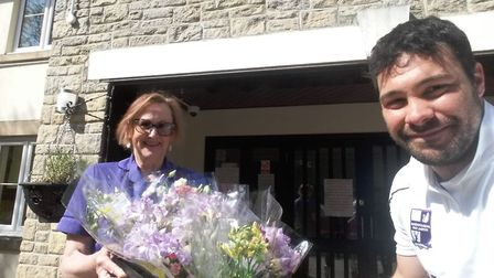 Members of Nailsea and Tickenham Football Club have been giving out flowers to key workers.
