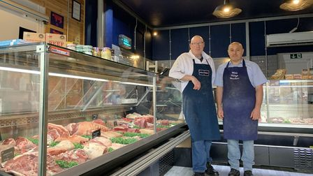 Butchers Graham Williams and Roy Gough look forward to meating you at Meatbox Worle.