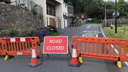 Kewstoke Road remains closed in both directions after bones were found on the cliff side.