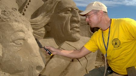 Sand Sculpture on Weston Beach. Thomas Koet from the Netherlands.11-7-08