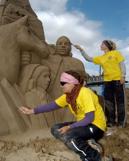 Sand Sculpture on Weston Beach. Anique Kuizenga from the Netherlands and Nicola Wood from Leicester1