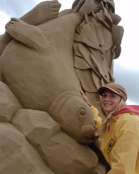Sand sculptures on Weston seafront.Nicola Wood, Lucas Brugsemann, William Tew, Emily Lansdon-Jones