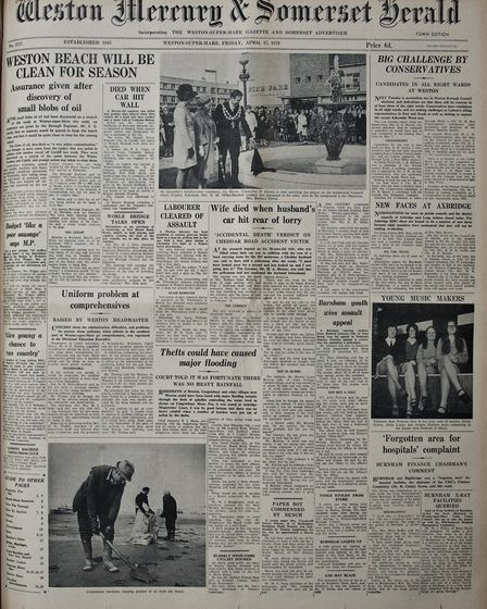 Front Page 17th April 1970 Edition. Picture: WESTON MERCURY