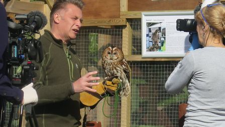Secret World patron, Chris Packham diling a segement for the One show at the centre. Picture: Secr