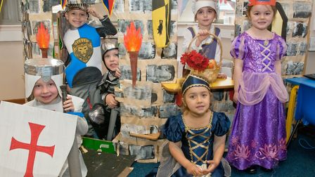 Reception class at St Mark's Primary School holding a medieval day with pupils and staff dressed as