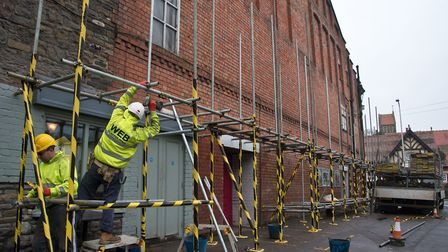 Building work begins on the Clevedon Curzon Cinema's leaky roof. Picture: MARK ATHERTON