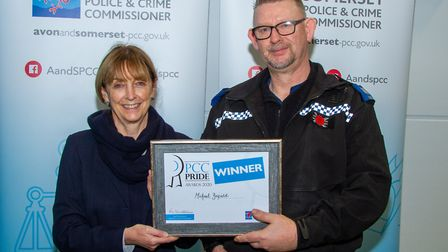 PCSO Michael Benfield presented with his award by PCC Sue Mountstevens. Picture: Jeff Searle