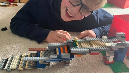 Barney Murch with his Lego rollercoaster.