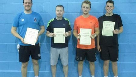 From left to right Billy, Ron, Callum and Billy of Uphill Badminton Club