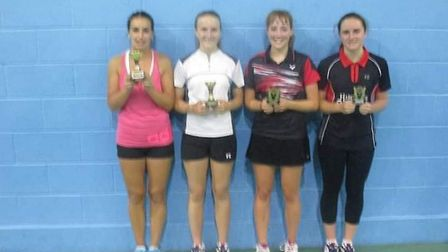 From left to right Nicola, Abi, Eloise and Aimee of Uphill Badminton Club