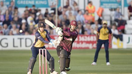 Somerset's Eddie Byrom pulls into the on side against Essex Eagles in the Vitality Blast (pic: Ray L