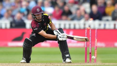 Somerset's Lewis Gregory is bowled out by Sussex Sharks' Chris Jordan during the Vitality T20 Blast