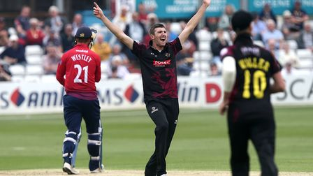Craig Overton of Somerset claims the wicket of Tom Westley (pic Gavin Ellis/TGS Photo)