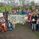 Children and adults protested against the proposed Baytree School development in fields off Brookfie