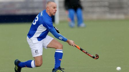 Duncan Long in action for Clifton Robinsons over 40s during their England Hockey Club Quarter-Final