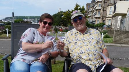 Beach Court residents Julie and Andy Spencer celebrate VE day and Julies Birthday. Picture: Kath F