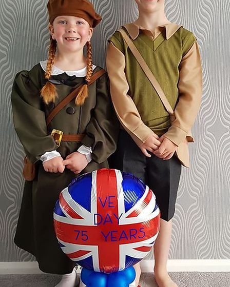 Dylan (8) and Olivia Walvin (5) dressed up to celebrate VE Day. Picture: Emma Walvin