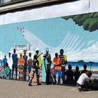 A mural to keyworkers by Martin D'Arcy on Weston High Street was has been completed. Picture: North