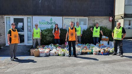 Weston Lions have donated 300 bags of store-bought essentials to Weston Foodbank. Picture: