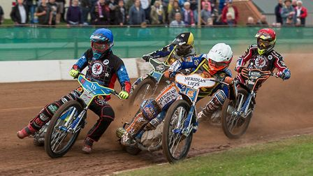 Heat two action in the Somerset Rebels meeting with Leicester Lions as Adam Ellis, Todd Kurtz, Kyle