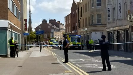 Police officers on the scene. Picture: Henry Woodsford
