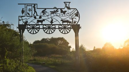 End of day, end of the Strawberry Line at the sculpture on the approach to Yatton railway station.