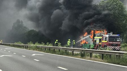 A double-decker bus caught fire on the M5 this afternoon (Friday). Picture: Mark Kidner