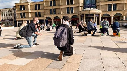 People took the knee in Weston town centre. Picture: Farhath Siddiqui