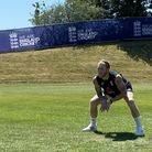 England's Ben Stokes practices slip catching during the training session at the Ageas Bowl, Southamp