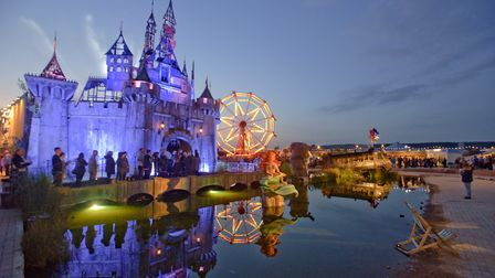 Banksy's Dismaland, evening and sunset.