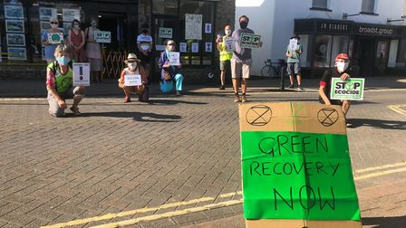 Extinction Rebellion protesting in Nailsea against Government's inaction on climate change.