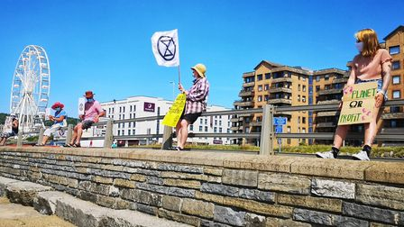 Extinction Rebellion protesters on Weston seafront. Picture: Sally Lowe